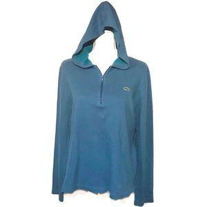Lacoste half zip teal hoodie